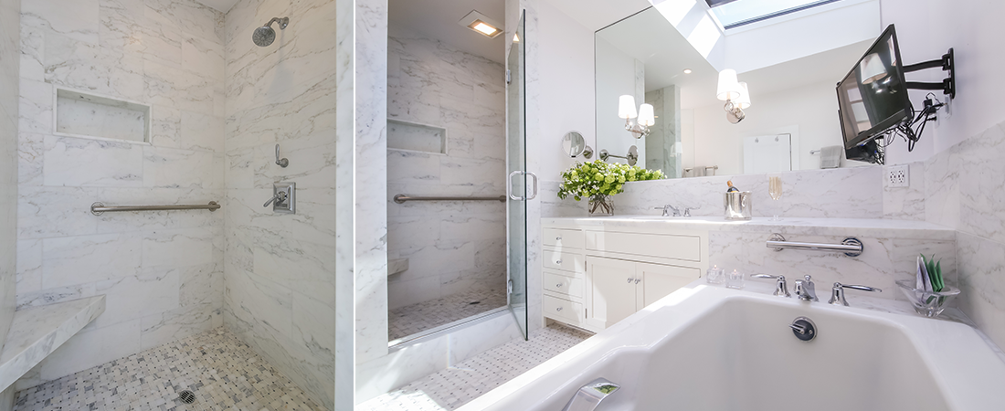 Cow hollow white marble master bath ruth preucel interiors for Master bath remodel 2016