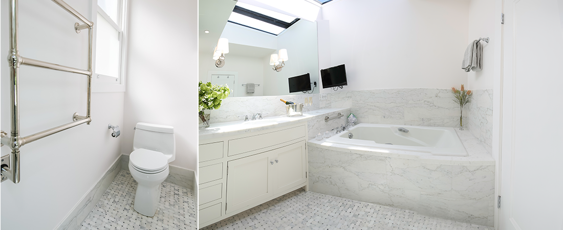 White and gray bathrooms
