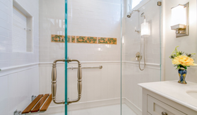 residential remodel white shower SF CA